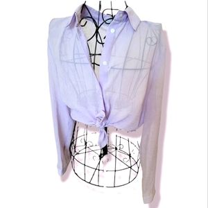 URBAN OUTFITTERS lilac button down sheer shirt